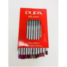 Карандаши PUPA цветные 1 для глаз и губ 12 штук