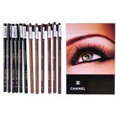 """Карандаши CHANEL для глаз и бровей черные и коричневые """" 12шт """","""